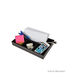 Mind Reader Desk Supplies Organizer for Letters, Pens, Pencils, Phone and Desk Accessories, 4 Compartments, Faux Leather