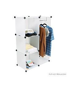 Mind Reader Storage Rack Shelf Bins with 4 Storage Cubes, 4 Bins/Cubes with Clothing Garment Storage Rack