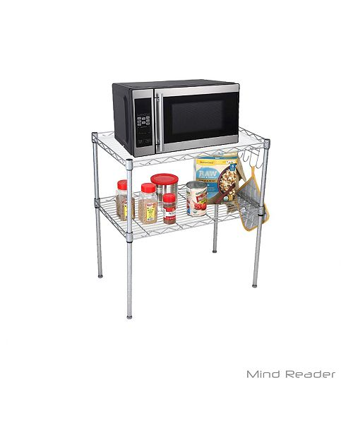 Microwave Oven Rack Shelving Unit, 2-Tier Storage Unit with 6 Hooks for  Kitchen Utensils, Towels, and Accessories