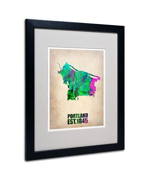 "Trademark Global Naxart 'Portland Watercolor Map' Matted Framed Art - 20"" x 16"" x 0.5"""