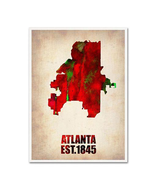 "Trademark Global Naxart 'Atlanta Watercolor Map' Canvas Art - 18"" x 24"" x 2"""