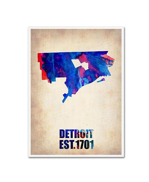 "Trademark Global Naxart 'Detroit Watercolor Map' Canvas Art - 35"" x 47"" x 2"""
