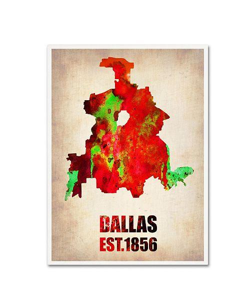 "Trademark Global Naxart 'Dallas Watercolor Map' Canvas Art - 35"" x 47"" x 2"""