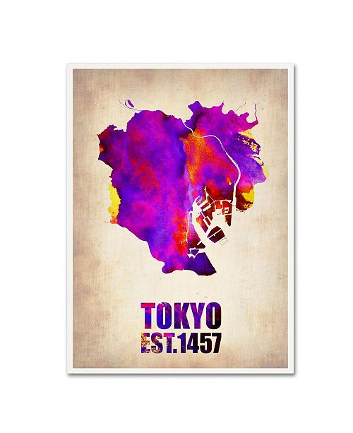 "Trademark Global Naxart 'Tokyo Watercolor Map 2' Canvas Art - 18"" x 24"" x 2"""