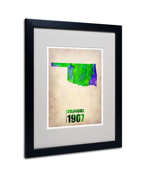 "Trademark Global Naxart 'Oklahoma Watercolor Map' Matted Framed Art - 20"" x 16"" x 0.5"""