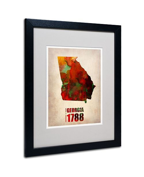 "Trademark Global Naxart 'Georgia Watercolor Map' Matted Framed Art - 20"" x 16"" x 0.5"""