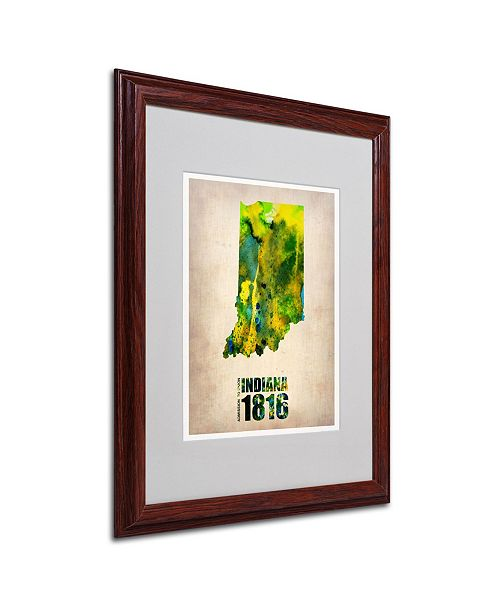 "Trademark Global Naxart 'Indiana Watercolor Map' Matted Framed Art - 16"" x 20"" x 0.5"""