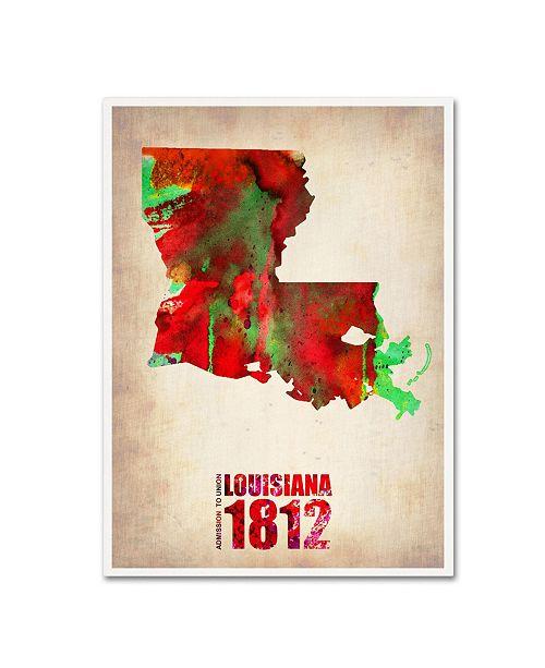 "Trademark Global Naxart 'Louisiana Watercolor Map' Canvas Art - 18"" x 24"" x 2"""