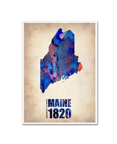 "Trademark Global Naxart 'Maine Watercolor Map' Canvas Art - 35"" x 47"" x 2"""