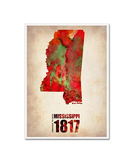 "Trademark Global Naxart 'Mississippi Watercolor Map' Canvas Art - 35"" x 47"" x 2"""