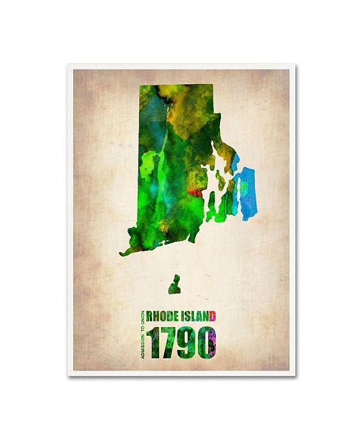 "Trademark Global Naxart 'Rhode Island Watercolor Map' Canvas Art - 18"" x 24"" x 2"""