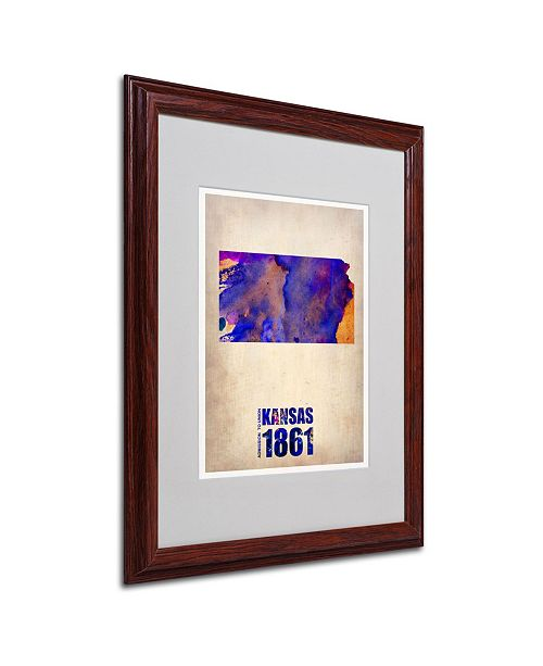"""Trademark Global Naxart 'Kansas Watercolor Map' Matted Framed Art - 16"""" x 20"""" x 0.5"""""""