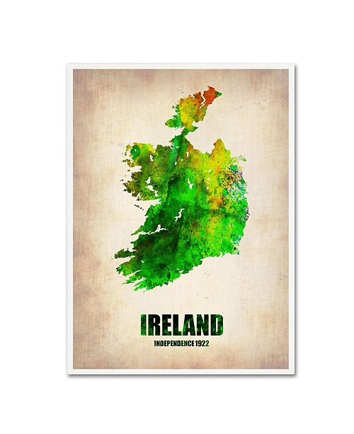 "Trademark Global Naxart 'Ireland Watercolor Map' Canvas Art - 24"" x 32"" x 2"""