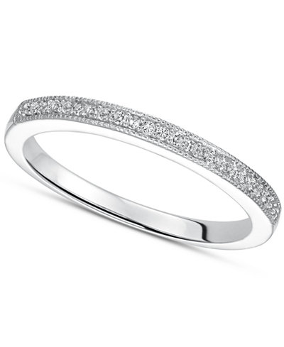 Sterling Silver Ring Diamond Accent Wedding Band