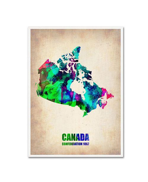 "Trademark Global Naxart 'Canada Watercolor Map' Canvas Art - 35"" x 47"" x 2"""