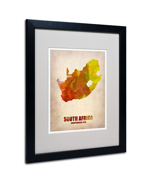 "Trademark Global Naxart 'South Africa Watercolor Map' Matted Framed Art - 20"" x 16"" x 0.5"""