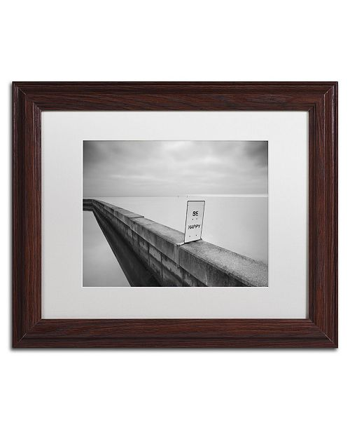 """Trademark Global Moises Levy 'Be Happy' Matted Framed Art - 14"""" x 11"""" x 0.5"""""""
