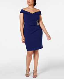 Alex Evenings Plus Size Off-The-Shoulder Sheath Dress