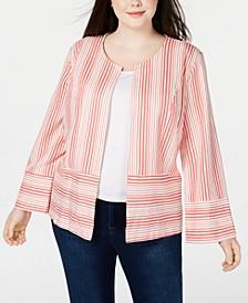 Plus Size Mixed-Stripe Jacket