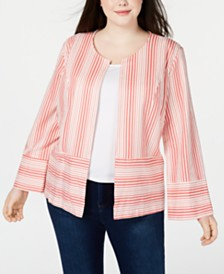 NY Collection Plus Size Mixed-Stripe Jacket