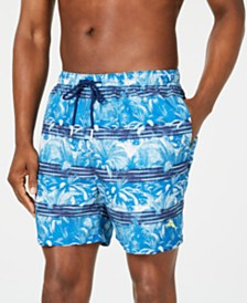 "Tommy Bahama Men's Naples Primo Palms Stripe Palm-Print 6"" Swim Trunks"