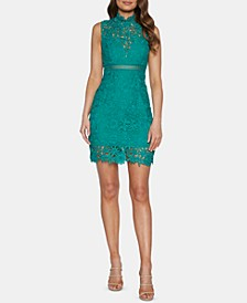 Lace Mock-Neck Sheath Dress