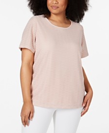 Calvin Klein Plus Size Textured Metallic T-Shirt