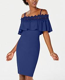 Juniors' Lace-Trim Off-The-Shoulder Dress