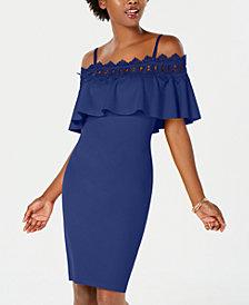 BCX Juniors' Lace-Trim Off-The-Shoulder Dress