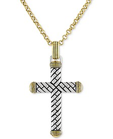 "Textured Cross 22"" Pendant Necklace in 14k Gold Over Sterling Silver, Created for Macy's"