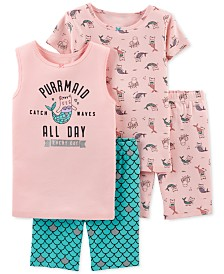 Carter's Little & Big Girls 4-Pc. Cotton Purrmaid Pajamas Set