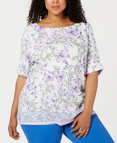 Karen Scott Plus Size Hibiscus Short-Sleeve Top, Created for Macy's