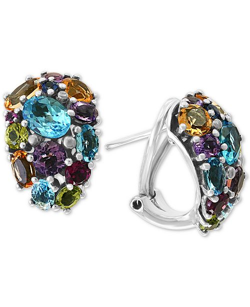 EFFY Collection EFFY® Multi-Gemstone (8-1/3 ct. t.w) Drop Earrings in 18k Gold over Sterling Silver