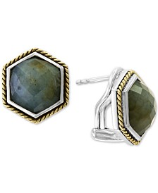 EFFY® Labradorite Stud Earrings (8-1/2 ct. t.w.) in Sterling Silver & 14k Gold-Plate