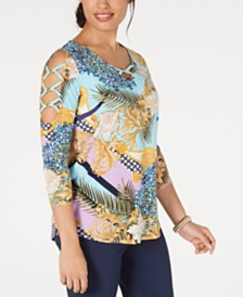 JM Collection Printed Cold-Shoulder Lattice-Sleeve Top, Created for Macy's