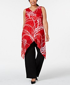 Plus Size Printed Crossover-Hem Top, Created for Macy's