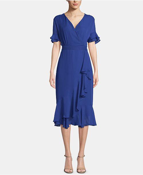 ECI Ruffled V-Neck Dress