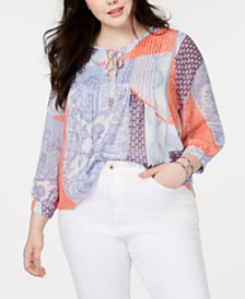 Tommy Hilfiger Plus Size Pintucked Patchwork Blouse, Created for Macy's