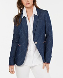 Tommy Hilfiger Cotton Diamond-Print Blazer