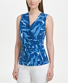 DKNY Printed Drape-Front Top