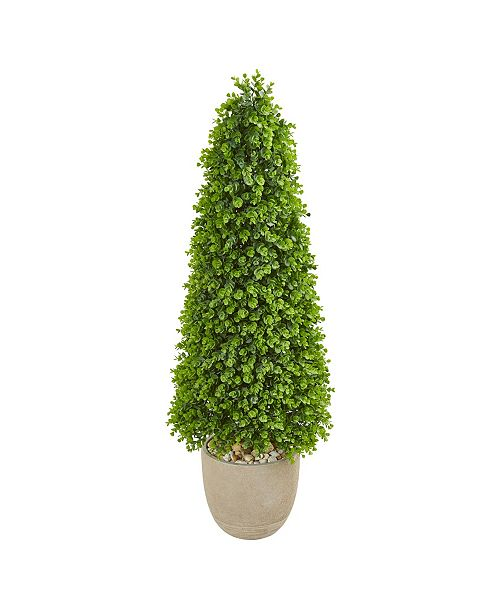 """Nearly Natural 50"""" Eucalyptus Topiary Artificial Tree in Sandstone Planter (Indoor/Outdoor)"""