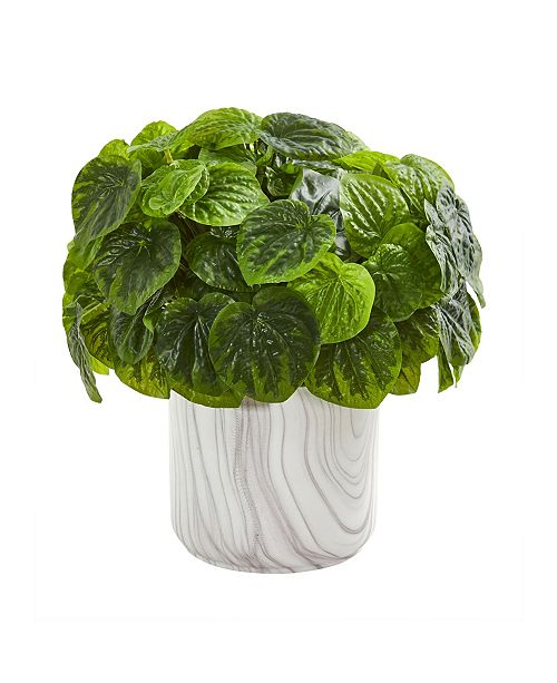 Nearly Natural Peperomia Artificial Plant in Marble Vase (Real Touch)