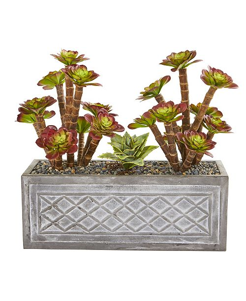 "Nearly Natural 23"" Echeverria Succulent Artificial Plant in Stone Planter"