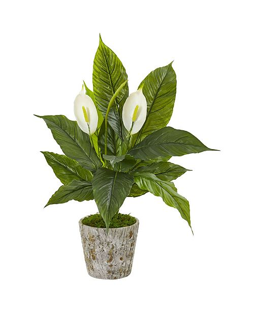 """Nearly Natural 29"""" Spathiphyllum Artificial Plant in Weathered Oak Planter"""