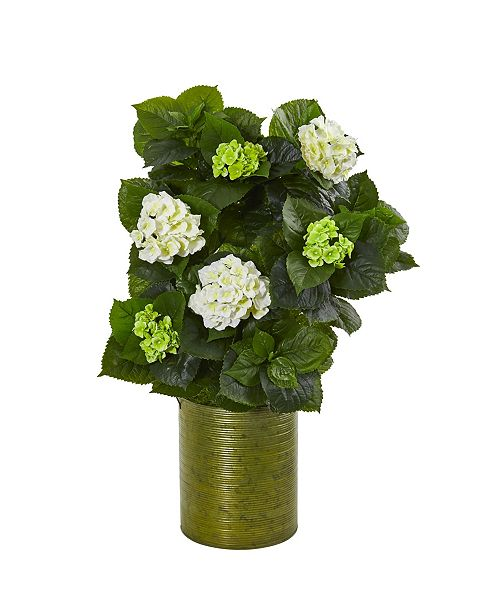"Nearly Natural 32"" Hydrangea Artificial Plant in Metal Green Planter"