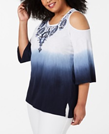 JM Collection Plus Size Cotton Embroidered Ombré Cold-Shoulder Top, Created for Macy's