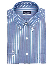 Men's Classic/Regular Fit Performance Pinpoint Double Stripe Dress Shirt, Created for Macy's