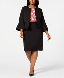Nine West Plus Size Bell-Sleeve Jacket, Printed Top & Sailor-Button Skirt