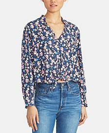 Edina Floral-Print Tie-Hem Top