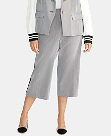 RACHEL Rachel Roy Plus Size Striped Cropped Pants